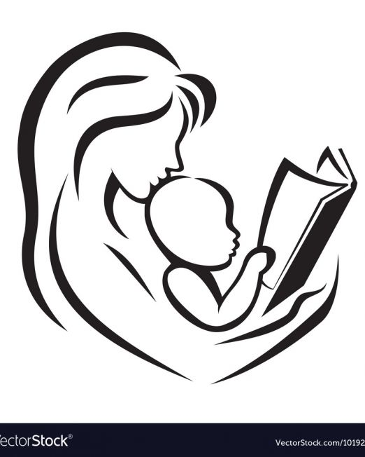 mother-and-child-reading-the-book-vector-1019270